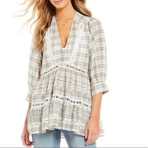 Free People Time out Lace tunic Ivory combo XS
